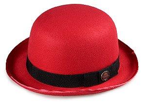 Chapéu Coco Bowler Vermelho Aba média Curva  5cm