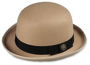 Chapéu Coco Bowler Bege Aba média Curva  5cm