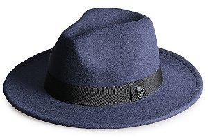 Chapéu Fedora Azul Marinho Aba Média Reta 7cm Caveira em Preto Fosco