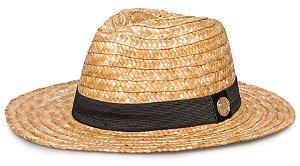 Chapéu de Palha dourada Fedora Aba Média