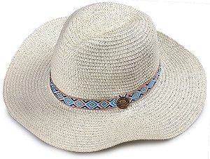 Chapéu de Palha Sintética Aba Maleável Creme Faixa Colorida