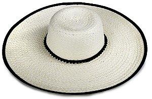 Chapéu de Praia Creme Aba 14cm Debrum na Aba Faixa Pompom
