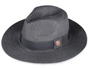 Chapéu de Palha Preto Fedora Aba Média 7cm