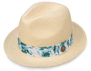 Chapéu Palha Bege Aba Curta 4cm Faixa Azul Mesclado