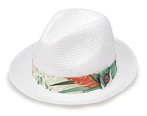 Chapéu Palha Branco Shantung Aba Curta 4cm Faixa Flower