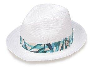 Chapéu Palha Branco Shantung Aba Curta Faixa Flower Azul