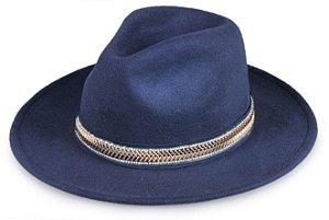 Chapéu Fedora Azul Marinho Aba Média Reta 7cm  Iluminare