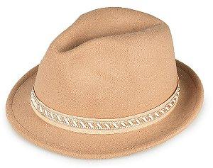 Chapéu Fedora Bege Aba Curta Curva 4cm - Iluminare