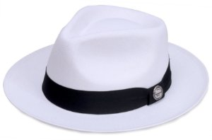 Chapéu Fedora Branco Aba Média 6cm Palha Cairo