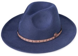 Chapéu Fedora Azul Marinho Aba Média Reta 7cm  Faixa fina estampada