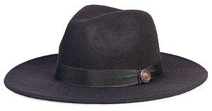 Chapéu Fedora Preto Aba Grande 8cm