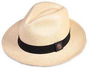 Chapéu Panamá Bege Faixa Preta Tradicional Montecristi