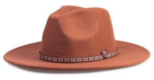 Chapéu Fedora Caramelo Aba Reta 8cm Faixa Fina Customizada