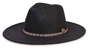 Chapéu Fedora Preto Aba 8cm Custom Faixa Dourada e Vinho