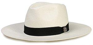 Chapéu Fedora Palha Natural Aba Grande 9 cm Faixa Preta