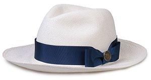Chapéu Panamá Legítimo Aba Média Faixa Azul Gorgurão Laço