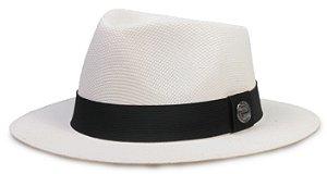 Chapéu Fedora Branco Fibra Aba Média