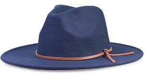 Chapéu Fedora Azul Aba 8cm Couro V Caramelo