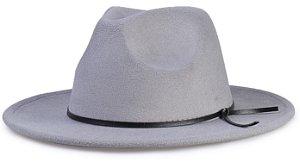Chapéu Fedora Cinza Aba Média 7cm Couro V Preto