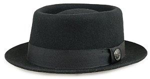Chapéu Pork Pie Preto 100% Lã Aba curta 4,5cm Premium Hats
