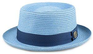 Chapéu Pork Pie Azul Glacial Palha Especial Aba curta 4,5 cm