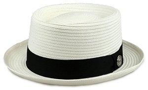 Chapéu Pork Pie Branco Palha Especial Aba curta 4,5 cm