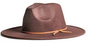 Chapéu Fedora Marrom Aba 8cm Couro V Caramelo
