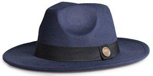Chapéu Fedora Azul Marinho Aba Reta 6,5cm