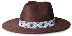Chapéu Fedora Marrom Aba 8cm Geometric Colors