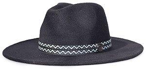 Chapéu Fedora Preto Aba 8cm Faixa Incas Preto e Branco