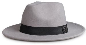 Chapéu Fedora Cinza Aba Reta 7cm Feltro Faixa Clássica