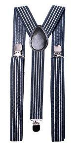Suspensório Azul Marinho Listras Brancas Couro preto 2,5cm