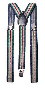 Suspensório Listrado Azul, Verde, Bege e Vermelho 2,5cm