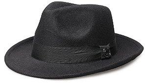 Chapéu Fedora Preto Aba Média 6cm