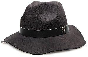 Chapéu Fedora Preto Aba Maleável 7cm Caveira Prata