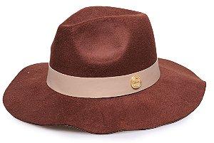 Chapéu Fedora Marrom Aba Maleável 7cm Coleção Couro