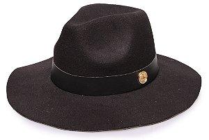Chapéu Fedora Preto Aba Maleável 7cm Coleção Couro