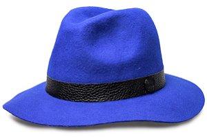 Chapéu Fedora Azul Royal 100% lã Aba Maleável 7cm Coleção Couro