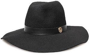 Chapéu Fedora Preto 100% lã Aba Maleável 10cm Coleção Couro