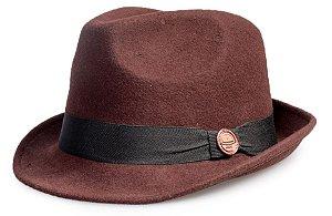 Chapéu Fedora Marrom 100% Lã Aba Curta 4,5cm