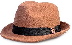Chapéu Fedora Caramelo 100% Lã Aba Curta 4,5cm