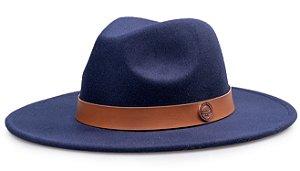 Chapéu Fedora Aba 7cm Azul Marinho Coleção Couro