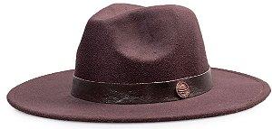 Chapéu Fedora Aba 8cm Marrom Coleção Couro