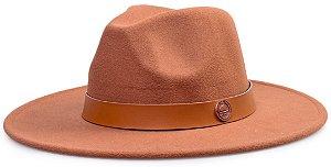 Chapéu Fedora Aba 8cm Caramelo Coleção Couro