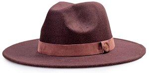 Chapéu Fedora Faixa Nobuck aba 8cm Marrom