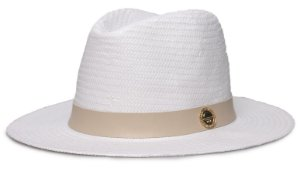 Chapéu Fedora Branco Aba média 7cm Palha Shantung Coleção Couro