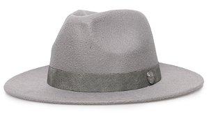 Chapéu Fedora Cinza Aba 7 Cm Faixa Cimento Cinza