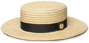 Chapéu Boater Palheta Palha Dourada Aba Média 7cm