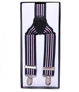 Suspensório Listrado Azul Marinho Branco e Vinho 3,5 cm