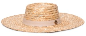 Chapéu de Palha Dourada Aba Grande 11 cm Pork Pie